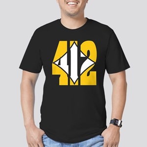 412 Gold/Whilte-D Men's Fitted T-Shirt (dark)