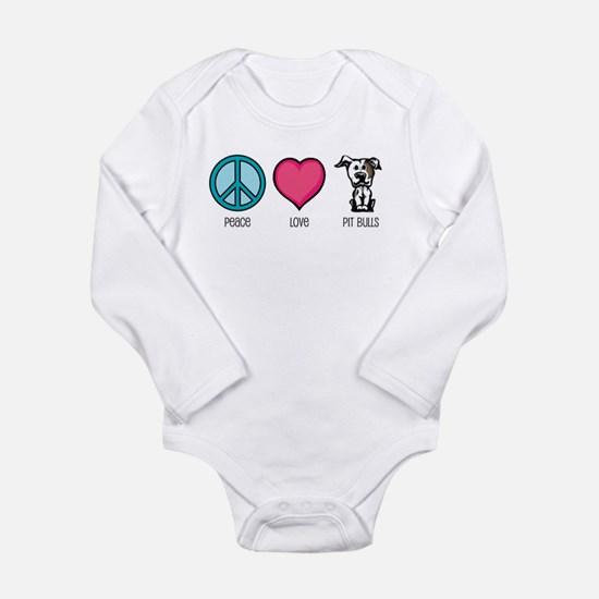 Cute Pit bull love Long Sleeve Infant Bodysuit