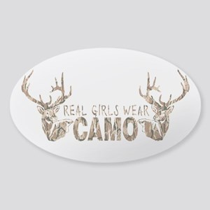 REAL GIRLS WEAR CAMO Sticker (Oval)