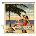 Vintage Private Beach Postcard Shower Curtain