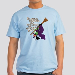 Funny Witch Flying Light T-Shirt