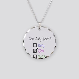 Coming Soon Baby Girl Necklace Circle Charm