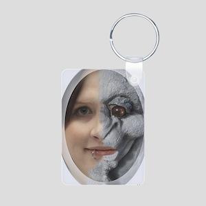Half Gargoyle face Aluminum Photo Keychain