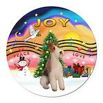 XMusic2-Wire Fox Terrier Round Car Magnet