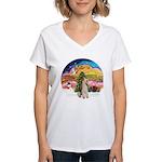XMusic2-Wire Fox Terrier Women's V-Neck T-Shirt