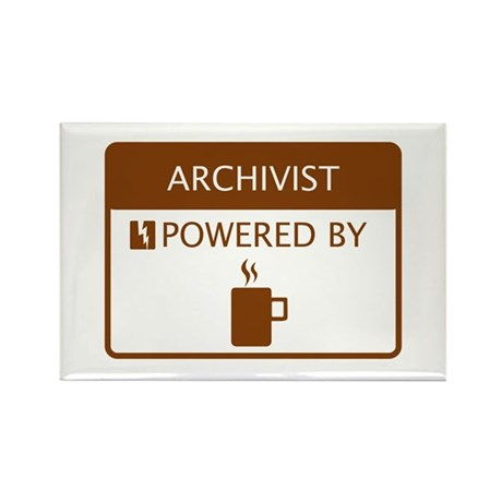 Archivist Powered by Coffee Rectangle Magnet
