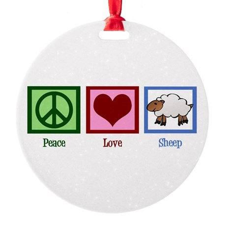 Peace Love Sheep Round Ornament