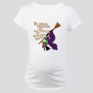Funny Witch Flying Maternity T-Shirt