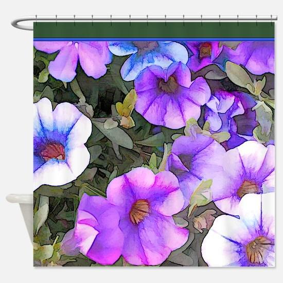 Purple and Blue Petunias Shower Curtain