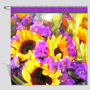 Sunflower and Statice Bouquet Shower Curtain
