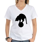 Black Cat Women's V-Neck T-Shirt