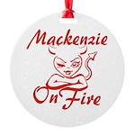 Mackenzie On Fire Round Ornament