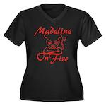 Madeline On Fire Women's Plus Size V-Neck Dark T-S