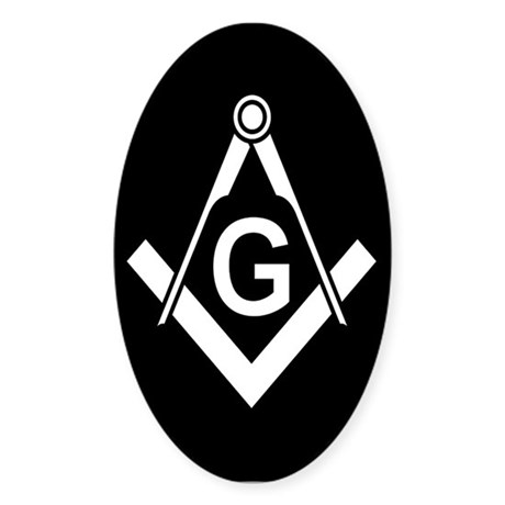 Masonic: Square & Compass Oval Sticker