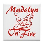 Madelyn On Fire Tile Coaster