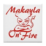 Makayla On Fire Tile Coaster