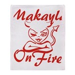 Makayla On Fire Throw Blanket