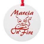 Marcia On Fire Round Ornament