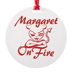 Margaret On Fire Round Ornament