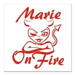 Marie On Fire Square Car Magnet 3