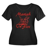 Mariah On Fire Women's Plus Size Scoop Neck Dark T