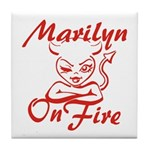 Marilyn On Fire Tile Coaster