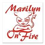 Marilyn On Fire Square Car Magnet 3