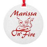 Marissa On Fire Round Ornament