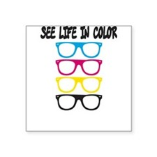 CMYK Glasses - life in color Square Sticker 3