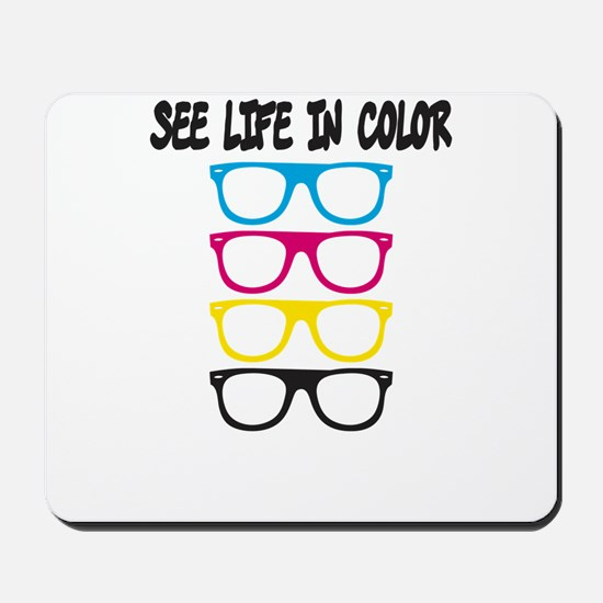 CMYK Glasses - life in color Mousepad