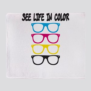 CMYK Glasses - life in color Throw Blanket