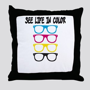 CMYK Glasses - life in color Throw Pillow