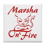 Marsha On Fire Tile Coaster