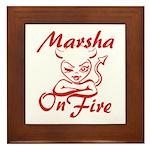 Marsha On Fire Framed Tile