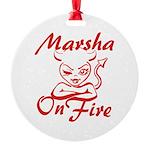 Marsha On Fire Round Ornament