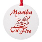 Martha On Fire Round Ornament