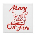 Mary On Fire Tile Coaster