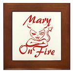 Mary On Fire Framed Tile