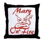 Mary On Fire Throw Pillow