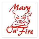 Mary On Fire Square Car Magnet 3