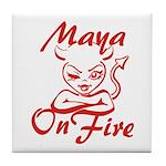 Maya On Fire Tile Coaster
