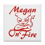 Megan On Fire Tile Coaster