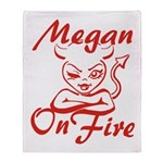 Megan On Fire Throw Blanket