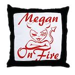 Megan On Fire Throw Pillow