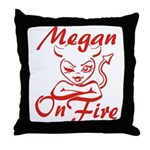 Megan On Fire Throw Pillow