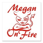 Megan On Fire Square Car Magnet 3