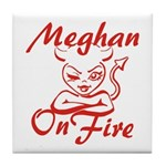 Meghan On Fire Tile Coaster