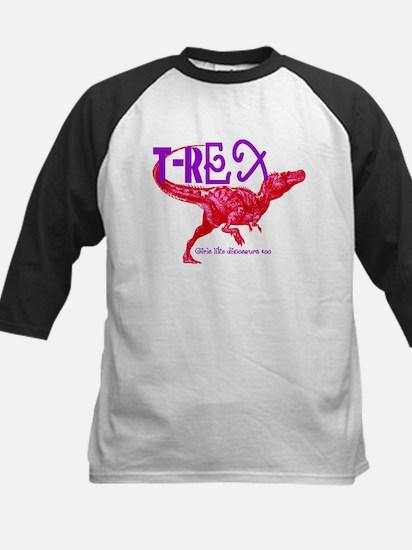 Hot Pink T-Rex Kids Baseball Jersey