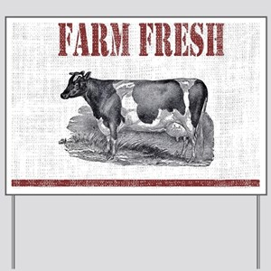 Country Chic Cow Farmhouse Yard Sign