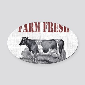 Country Chic Cow Farmhouse Oval Car Magnet